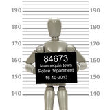 Grey mannequin posing in a mugshot Stock Photography