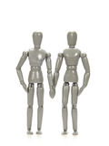 Grey mannequins couple holding hands Royalty Free Stock Images