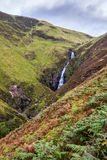 Grey Mares Tail. The Grey Mares Waterfall, one of the UK`s highest waterfalls, plunging more than 60m. Located in Galloway in southern Scotland royalty free stock images