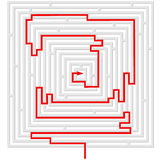 Grey maze with red solution Royalty Free Stock Photos