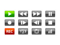 Grey media buttons. A set of 12 media buttons that can be used in web application or software creation. Play and REC buttons are contrastly coloured for easy use Stock Illustration