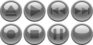 Grey media buttons. [Vector] Royalty Free Stock Images