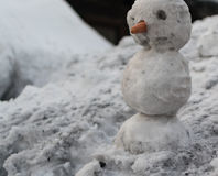 Grey Melted Snowman na terra na mola adiantada fotos de stock