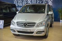 Grey mercedes benz viano commercial vehicle car. In 2014 central china international auto expo royalty free stock photography