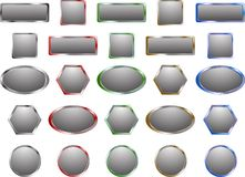 Grey metal buttons Royalty Free Stock Images