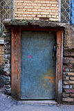 Grey metal door of the basement Stock Photography