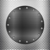 Grey metal grid and black circle plate Stock Photo