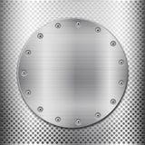 Grey metal grid and circle plate Royalty Free Stock Photos