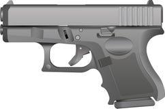 A Grey Metal Handgun. An illustration of a grey metal handgun on a white background. Gradients are used in the illustration stock illustration