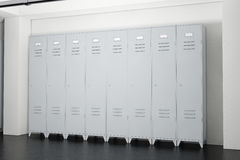 Grey Metal Lockers dans la chambre de casiers rendu 3d Photos stock