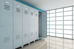 Grey Metal Lockers framförande 3d Stock Illustrationer
