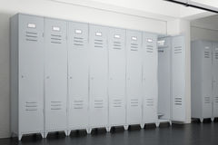 Grey Metal Lockers i skåprum framförande 3d Royaltyfri Bild