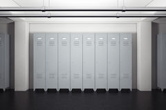 Grey Metal Lockers i skåprum framförande 3d stock illustrationer