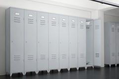 Grey Metal Lockers im Schließfach-Raum Wiedergabe 3d Lizenzfreies Stockbild