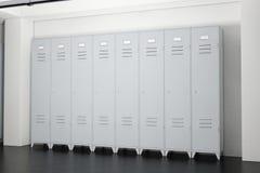 Grey Metal Lockers im Schließfach-Raum Wiedergabe 3d Stockfotos
