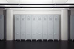 Grey Metal Lockers im Schließfach-Raum Wiedergabe 3d Lizenzfreie Stockfotografie