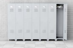 Grey Metal Lockers rappresentazione 3d Immagini Stock Libere da Diritti