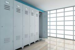 Grey Metal Lockers rappresentazione 3d Fotografia Stock Libera da Diritti