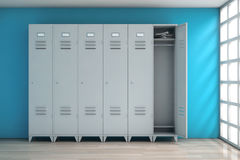 Grey Metal Lockers Wiedergabe 3d Lizenzfreie Stockfotos