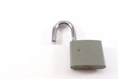 Grey Metal Padlock débloqué Photographie stock libre de droits