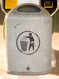 Grey metal rubbish bin with copyspace Stock Photography