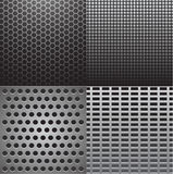 Grey metal textures. Vector illustration of four grey metal textures Royalty Free Stock Image