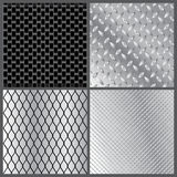 Grey metal textures. Vector illustration of four grey metal textures Stock Images