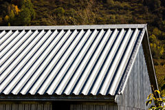 Grey metallic corrugated roof Stock Image