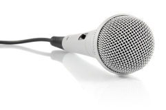 Grey metallic microphone with cable Royalty Free Stock Image