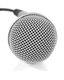 Grey metallic microphone with cable Royalty Free Stock Photo