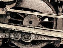 Grey Metallic Steam Engine Wheel imagens de stock