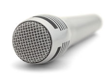 Grey Microphone. Close Up of Grey Cordless Microphone Isolated on a White Background Stock Images