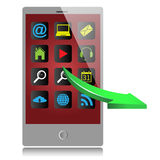Grey mobile phone and green arrow Stock Image