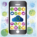 Grey mobile phone Royalty Free Stock Images