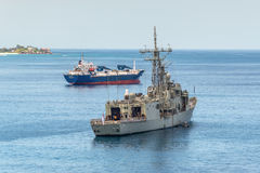 Grey modern frigate of the Royal Australian Navy anchored in the Royalty Free Stock Images