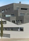 Grey modern residential building facade Stock Image