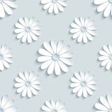 Grey modern seamless pattern with 3d chamomiles. Beautiful modern grey background seamless pattern with white 3d flower chamomiles cutting paper. Floral trendy Stock Photography