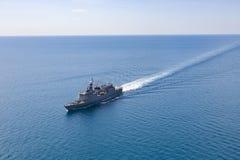 Grey modern warship  aerial view. Grey modern warship  aerial view Royalty Free Stock Photography