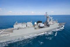 Grey modern warship  aerial view. Grey modern warship  aerial view Stock Photography