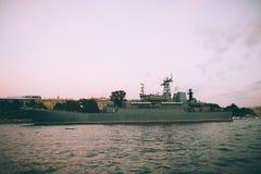 Grey modern warship Royalty Free Stock Image