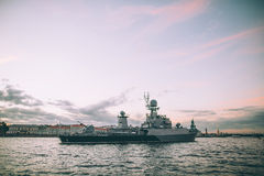 Grey modern warship Stock Photos