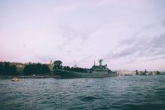 Grey modern warship Stock Image