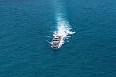 Grey modern warship,helicopter view. Grey modern warship,helicopter view Stock Photography