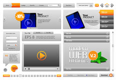 Grey Modern Website Design Elements Stock Image