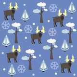 Grey Moose Pattern with snowflakes, pine and spruce trees on a blue background. Vector Illustration. Winter, Merry Christmas Colle Royalty Free Stock Image
