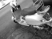 Grey moped. Black and white moped vespa Stock Photography