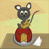 Grey mouse with cheese Royalty Free Stock Images