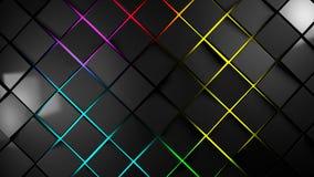 Grey and multicolor squares modern background. 3d render illustration Stock Image