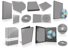Grey multimedia disks and boxes on white Stock Photo
