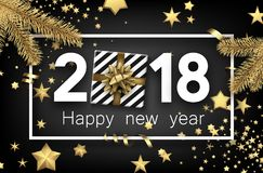 2018 new year background with gift. Grey 2018 new year background with gold stars and gift. Vector top view illustration Stock Images
